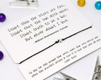 Shakespeare Hamlet love Friendship Bracelet, wish bracelet, Shakespeare gift, Shakespeare jewellery, LDR gift, romantic gift, star bracelet