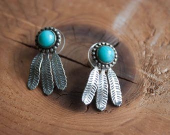 Vintage Turquoise Feather Earrings / Vintage Earrings / Native American Jewelry / Vintage Turquoise Jewelry / Silver Feather Earrings