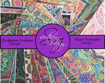 Paisley Vinyl Sample Pack of 6, 6x6 Sheets // Printed Vinyl Sheets // Outdoor, Indoor, Heat Transfer Vinyl Sheets