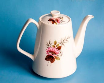Vintage Chintz 1972 Lord Nelson White Teapot Pink Floral Pattern