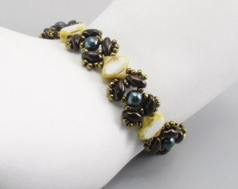 Bracelet, Jet Copper and White Picasso Glass Beads with Green Pearls, Bronze Toggle Clasp