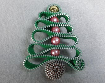 Christmas Brooch Made-To-Order - Pink Ornaments, Holiday Pin, Christmas Tree Pin, Christmas Pin, Christmas Tree Brooch, Upcycled, Recycled