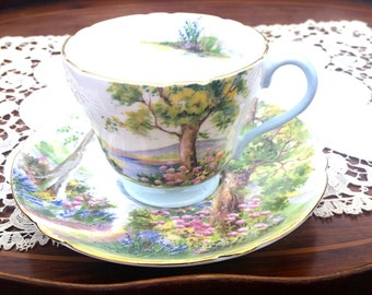 Shelley Tea Cup and Saucer Woodland English Fine Bone China