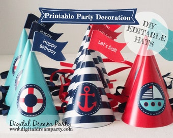 Nautical Party Hats and Toppers Editable Printable Sailor Birthday ddp0001