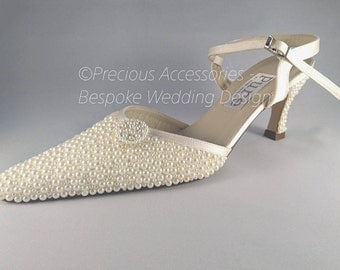 Ladies Bridal Wedding Pearl Shoes, Ivory Cream Pearl Crystal Encrusted Embellished Bridal // Bridesmaids // Prom // Size 5 (38)