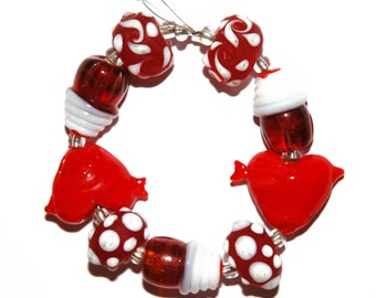 Glass Lampwork Bead Assortment Strand for Jewelry Making: Red Heart with Arrow, Chocolate Sundae, Red Rondelle with White Polka Dot Design