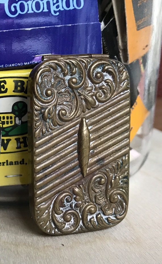Antique Brass Match Holder : Garciosa Match Safe