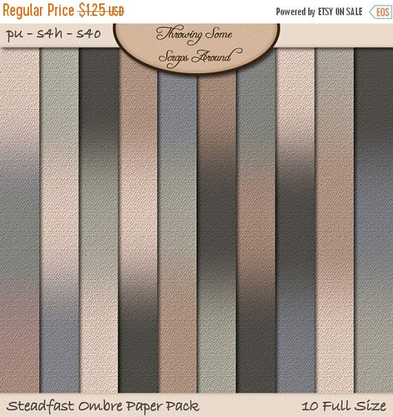 ON SALE Digital Scrapbook, Paper, Ombre: Steadfast