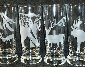 North West Etched Glass Set of 4