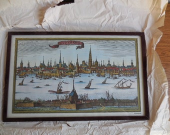 A Framed Print of 17th Century Antwerpen Belgium