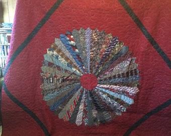 burgandy necktie quilt