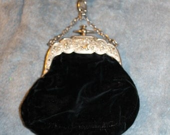 Vintage Velvet Evening Bag, Special Occasions Bag, Purse, Clutch, The Inside Looks Like Real Silk, The Inside Needs Some Glue but That is it