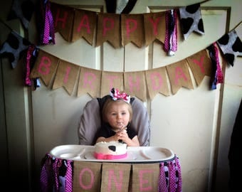 Baby Girl Banner, Free Shipping****Cowgirl Theme Happy Birthday Banner *** Free Shipping