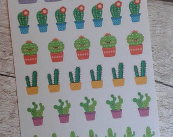 Cactus planner stickers, planner stickers uk, kawaii cactus, kawaii stickers, cactus stickers, uk seller, happy planner, filofax, cute cacti