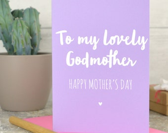 Godmother Mother's day card - card for Godmother - Mothers day card for lovely Godmother