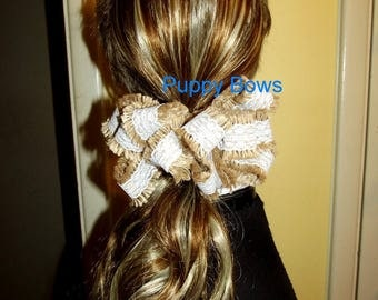 Becky Bows ~ Barrette  huge BIG hair bow Women or Girls large COUNTRY burlap tan lace trim ladies