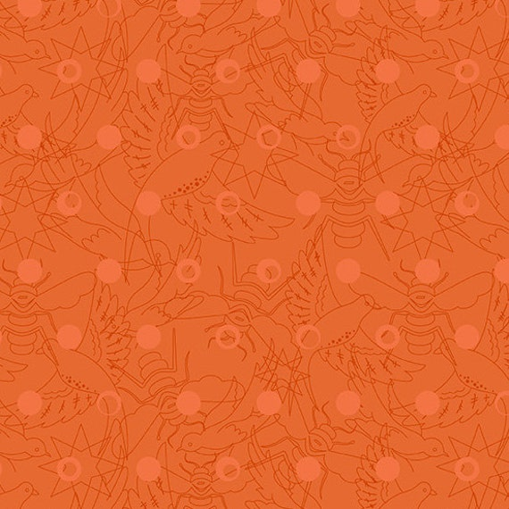 Sunprint 2017 LINK Carrot Orange A-8484-O Alison Glass Sold in 1/2 yd increments