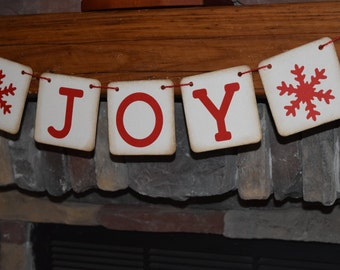 JOY CHRISTMAS BANNER, Christmas Banner, Joy Garland,Christmas Decorations, Holiday Decorations, Holiday Party, Christmas Party, Photo Prop,