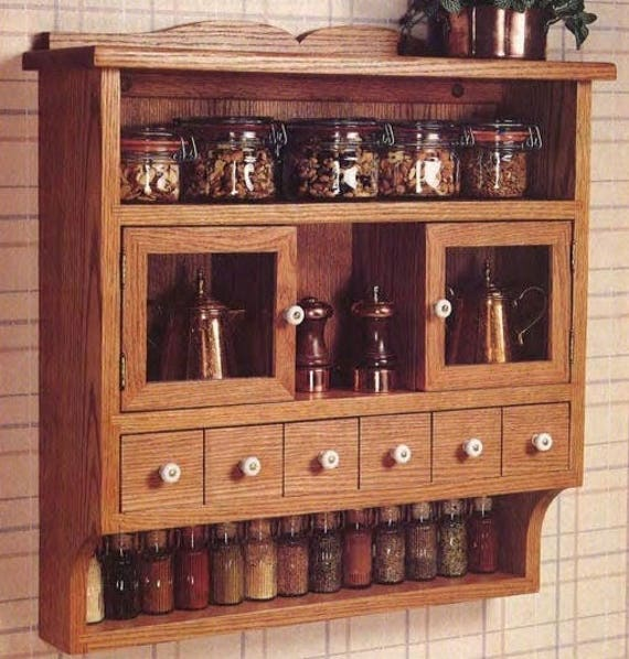 Pennsylvania Spice Cabinet Plans: Spice Cabinet Woodworking Plans From OldTymeRecreations On