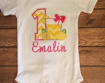 Pink Lemonade Embroidered Birthday Shirt or Baby Bodysuit