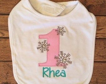 Winter Onederland Bib With Name Embroidery