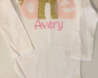Pale Pink and Gold Birthday Baby Bodysuit or Shirt With Name Embroidery