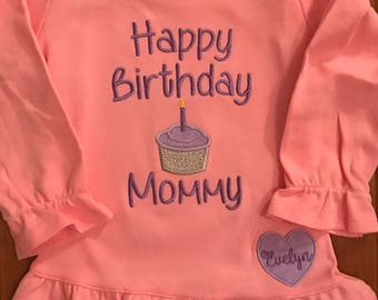 Pink and Purple Happy Birthday Mommy Embroidered Shirt or Baby Bodysuit