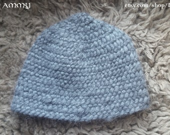 Light grey Viking cap for child, naalbinding