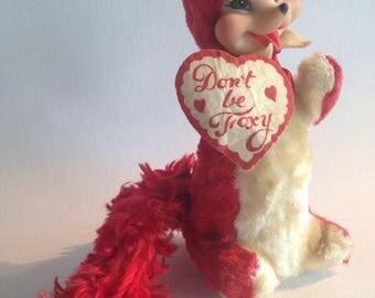 Vintage Rushton red fox velvet fur valentine rubber face plush bear