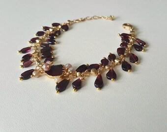 Garnet Teardrop Bracelet