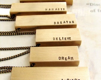 Graduation gift, bar necklace, Custom name necklace, hand stamped mantra necklace, brass bar pendant, personalized  gift for men