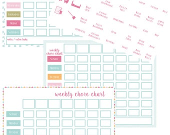 Chore Chart Printable - Weekly Task Planner - Instant Download - Kids Organization