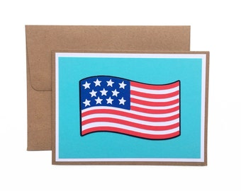 American Flag Card | USA | Welcome Home | Patriotism | Stars and Stripes | Blank | Handmade