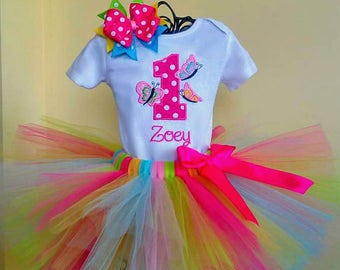 1st Birthday Butterfly Tutu Outfit, Spring Butterfly Birthday Outfit, Cake Smash