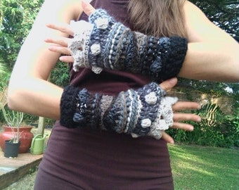Grey wolf freeform crochet fingerless gloves arm warmers