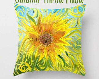 Outdoor Throw Pillow, Sunflower,  Artistic Illustration,  Outdoor decor, patio pillows, cushions, garden, poolside, lounge,  tropical