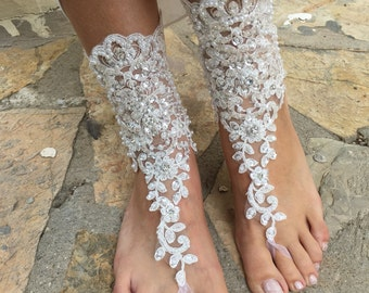 One Pair French  lace , Rhinestone wedding barefoot sandal..Bridal barefoot sandals. bridesmaid gift.. bridal anklets
