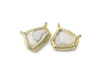 Howlite Gemstone Pendant . Jewelry Craft Supplies . Polished Gold Plated over Brass  / 2 Pcs - DG066-PG-HW