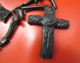 Vintage Hand Carved Wood Cross Necklace