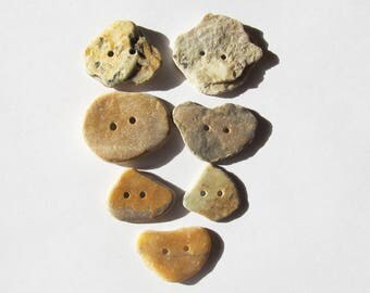 Natural Stone buttons rock buttons organic buttons set of 7 knitting sewing buttons scrapbooking craft buttons ooak unique buttons (SBT-30)