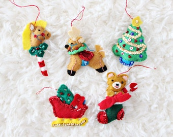 CHRISTMAS TREE ORNAMENTS | stick horse, santa's sleigh, christmas tree, teddy bear in stocking, & reindeer felt ornaments, set of five