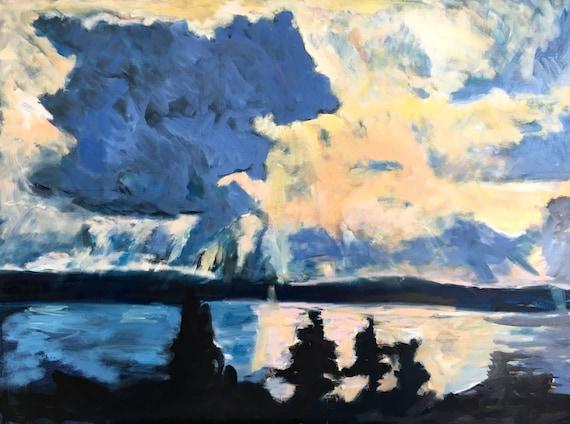 "Original Oil Painting: Seneca Sunset , 36"" x 48"", large original oil painting"