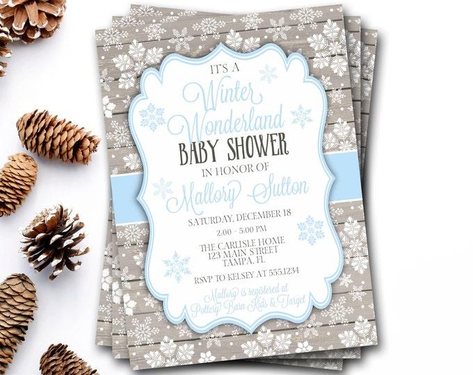Winter Wonderland Baby Shower Invitation, Winter Baby Shower, Snowflake Baby Shower Invitation, Snowflake Invitation, DIY Printable