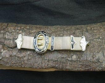 Beautiful French Antique Silver Gilt and Enamel Watch Buckle Chain