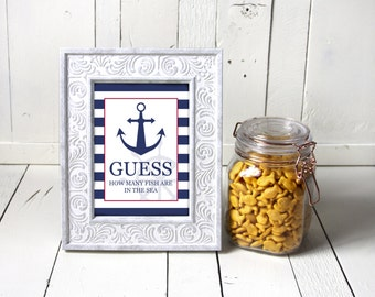 Fish In The Sea, Baby Shower Game, Nautical Baby Shower, Item 205