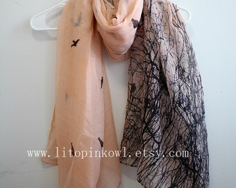 Bird Scarf, Orange Scarf, Spring Scarf, For Her, Womens Scarves, Gift For Women, For Girlfriend, Mom Gifts, Gift Mom, Spring Scarf