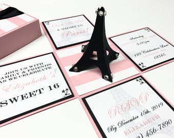 Paris Themed Invitations Paris Invitation Sweet 16 Exploding Box Exploding Boxes Sweet 16 Party Sweet 16 Invitations Paris Invitation