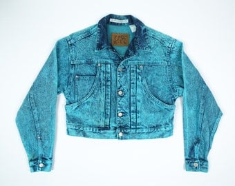 80s Cropped Jean Jacket S - Acid Washed Jean Jacket S -  Made in Japan - Code Bleu Jean Jacket Women's Small - Unique Denim Jacket Small