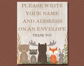 Woodland Baby Shower Name and Address Sign Printable, Forest Animals Baby Shower address Table Sign, INSTANT DOWNLOAD 016