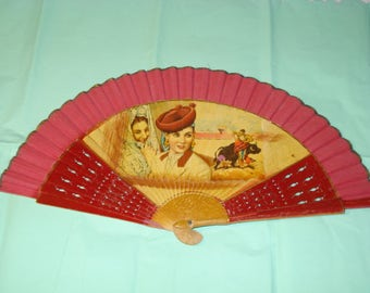 Lovely red 40s Spanish fan w mural. Great price!